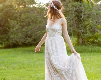 Dried bridal flower crown Barn wedding hair wreath accessories Woodland pink blue circlet Headpiece flower girl halo