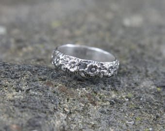 Sterling Silver Flower Band, Embossed Pattern Design, Floral Ring for Him or Her, Mans or Womans Anniversary Wedding or Promise Ring