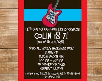 Guitar Invitation, Rock n Roll Party Invites, Hard Rock Party, Boys Music Invitation, Guitar Party, Printable, Personalized Invites
