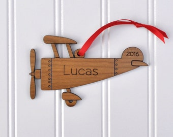 Wooden Airplane Christmas Ornament: Personalized Name & Date, Kids Wood Ornament, 2018 Baby's First Christmas, Classic Traditional Design
