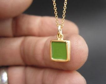 Reversible Enamel and Vermeil Necklace in Dark Green and Cobalt