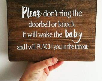 No soliciting|funny|home decor|Don't wake the baby