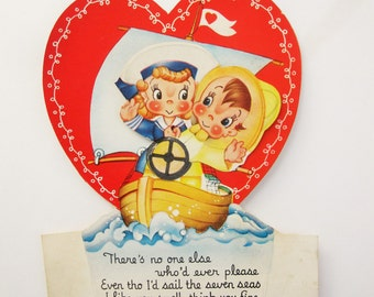 A Vintage 1940-50s Valentine - Animated Card With Two Sailors- Little Girl and Boy Sailing - 'A-Meri-Card' USA - For a Sailor