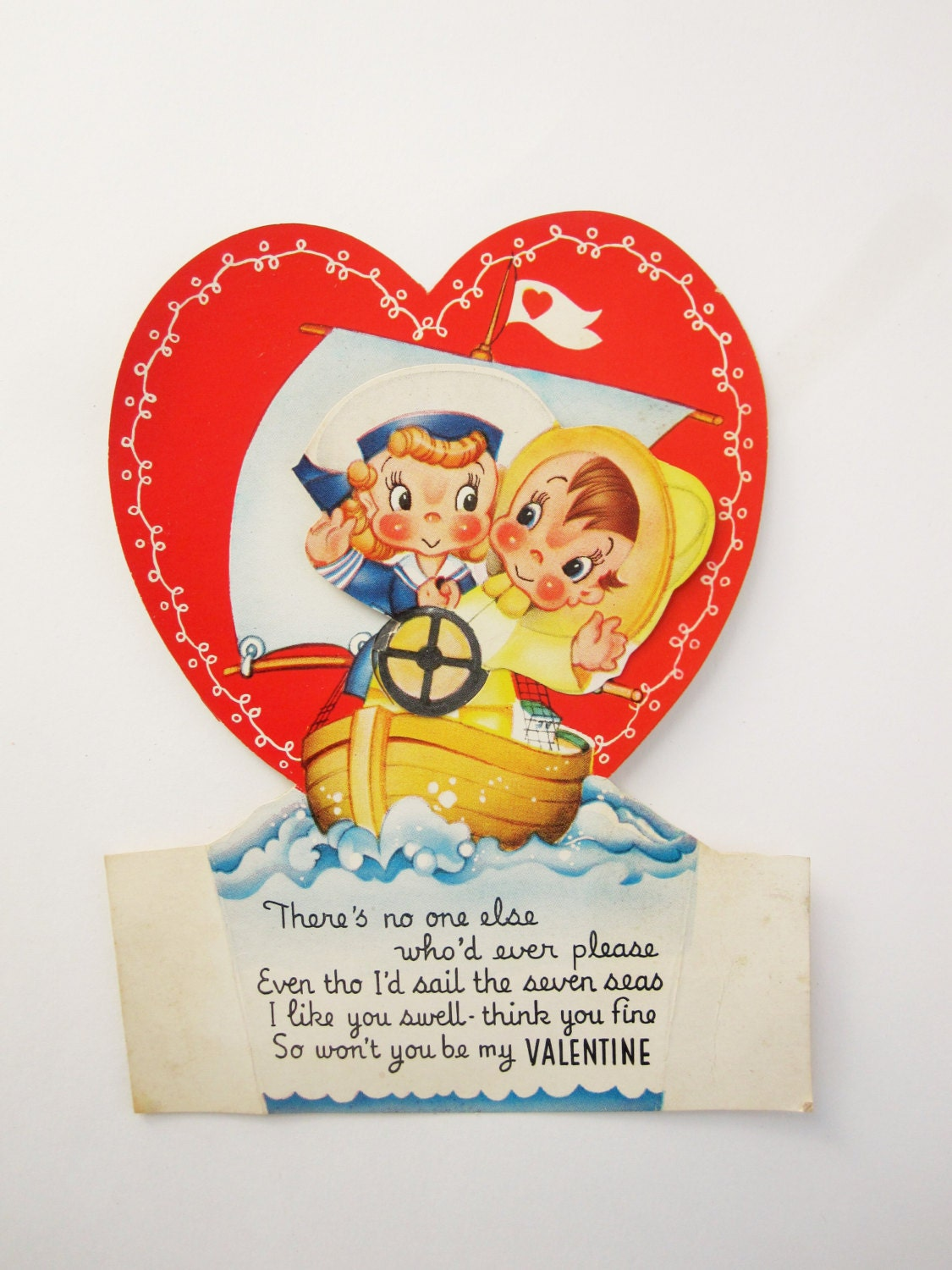 A Vintage 1940 50s Valentine Animated Card With Two Sailors