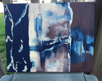 Original Abstract Acrylic Painting Blue and Brown