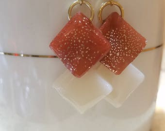 By Wishingwell, elegant cream and rust dangle earrings with gold sparkle embellishment, great for any occasion gift giving
