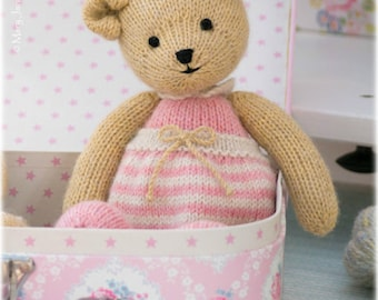 Girl Bear Knitting Pattern/ PDF INSTANT Download/ Method 1/ TEAROOM Toy Knitted Teddy Bear Pattern/ Small Bear