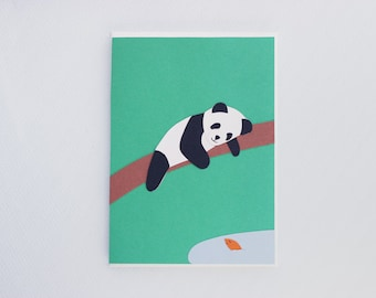 Hello, friend! Panda and fish - just saying hi - papercut collage card
