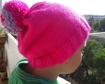 Girl knitted by hand with a Pompom bi - color size teen