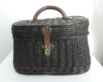 Handbag 1940s Creel wicker vintage French basket