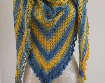 Yellow blue shawl