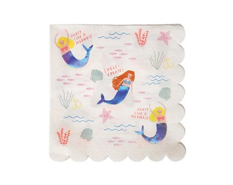 Let's Be Mermaids Paper Napkins, Large, Meri Meri, Party Decor, Party Supplies, Tableware, Under The Sea, Party Theme