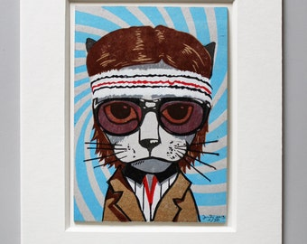 Richie Cat Linocut with Passe Partout