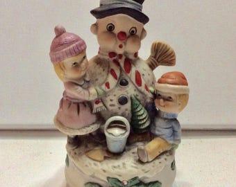 Vintage Artmart ceramic Frosty The Snowman music box.