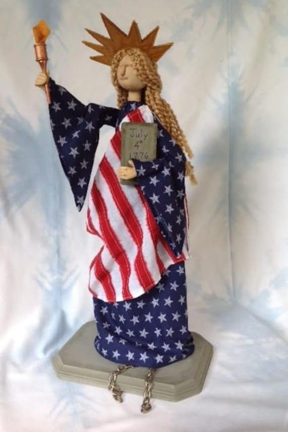 Miss Liberty - Mailed Cloth Doll Pattern Americana Statue of Liberty 4th of July Art Doll