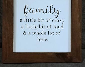 Family sign, Wood Sign, a little bit of crazy, Canvas, customized wood sign, home decor