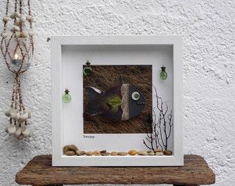 fish art, fish painting, nautical decor, sea decor, beach art, ocean art, fish decor wall, coastal wall art, marine decor