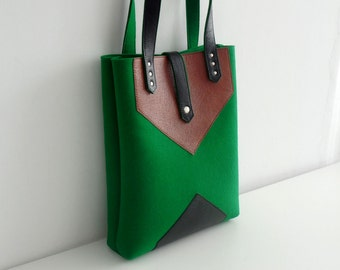 Green Black Brown Wool Felt Leather Tote Bag