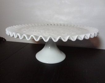 Vintage Fenton Spanish Lace Milk Glass Pedestal Cake Stand/Plate Ruffled Edge - Wedding/Shower Cake Stand