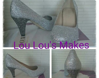 Glitter Shoes with Diamante heels - Handmade