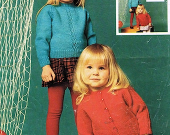 PDF - Small Child's Cardigan and Jumper Sweater Pullover - Patons Double Knitting 2012 - Vintage Knitting Pattern