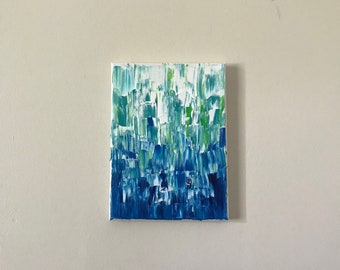 Abstract blue painting on canvas