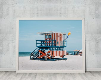Digital Download, Fine Art Photography, Summer, Ocean, Landscape, Wall Art, Miami Beach Lifeguard Tower, Gift for Her, Gift for Him, #5