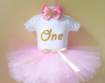 Pink and Gold 1st Birthday Outfit, 1st Birthday Girl Outfit , First Birthday Tutu, 1st Birthday Outfit , 1st Birthday Tutu , Birthday Outfit