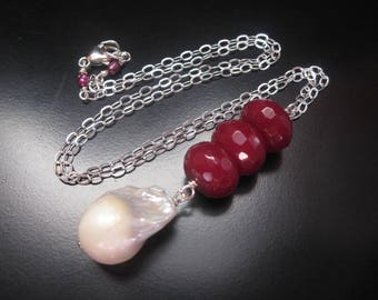 Ruby Pearl Necklace, White Freshwater Pearl Baroque Nucleated Flameball Pearl, Faceted Ruby Jade, Sterling Silver, Pearl Jewelry, Y Necklace