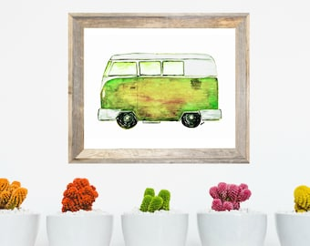 Hippie Van, Vanlife Watercolor Art Print, Painting Wall Art, Gift for Him or Her
