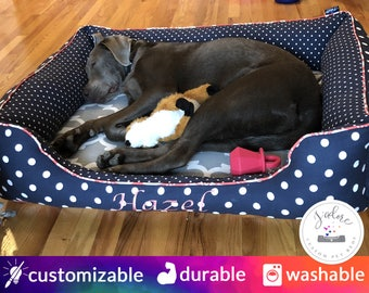 Large Designer Dog Bed with Bolster Bumpers | Navy, Coral, Gray | Washable - Design Your Own!