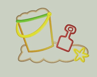 Sand Bucket and Beach Toys Applique Design