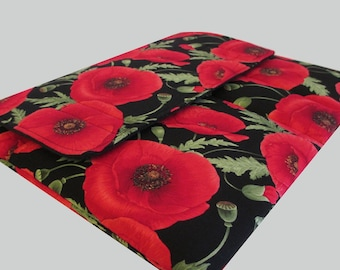 Laptop Sleeve, Tablet Case, Laptop Cover, Tablet Sleeve, Laptop Case, Tablet Cover, Laptop Bag, up to 13 Inch - Red Poppies