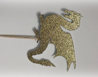 Mythical Dragon cupcake toppers, gold glitter - Set of 12. Fairies and dragons birthday, medieval dragons.