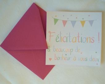 Carte de félicitations pastel avec son enveloppe couleur