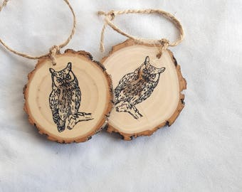 Owl wood slice christmas ornament