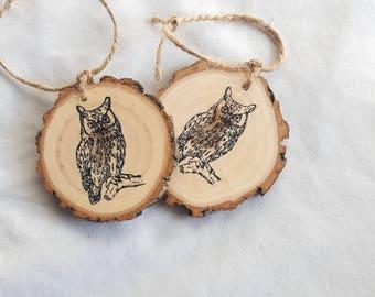 Owl wood slice christmas ornament