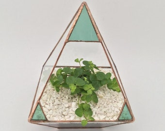 Pyramid stained glass decoration gift glass terrarium planter made in the uk