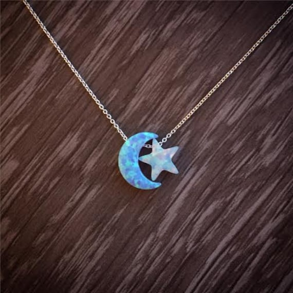 Lab opal Moon & Star necklace, Silver Moon and Star necklace, Gold filled Moon and Star necklace