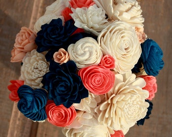 Sola flower bouquet, wedding bouquet, navy blue wedding flowers, wood flower bouquet, coral and navy eco flowers, coral sola wood flowers
