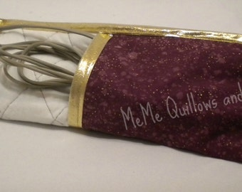 Curling Iron Carrier Burgundy & Gold