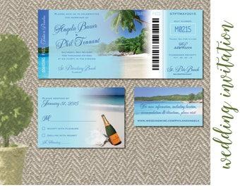 Beach Destination Wedding Invitation Digital Files