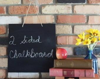 Handmade 12x12  Double-sided Blank Chalkboard with Jute Rope or Black Ribbon - Blackboard- Black Board Sign - Slate - Open/Closed Sign