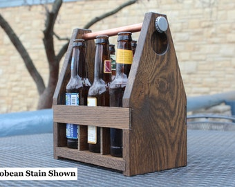 SALE- Recycled Solid Oak Wood Beer 6-Pack Carrier / Caddy- Christmas/Groomsmen Gift