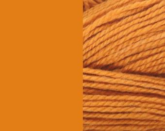 Wool yarn, mandarin, bulky 2-ply worsted pure wool knitting yarn 50g/65m cake