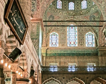 Blue Mosque Interior, Istanbul, Turkey, Turkish Mosque, Istanbul Painting, Mosque, Interior Architecture, Ornate Tiles, Available on Canvas