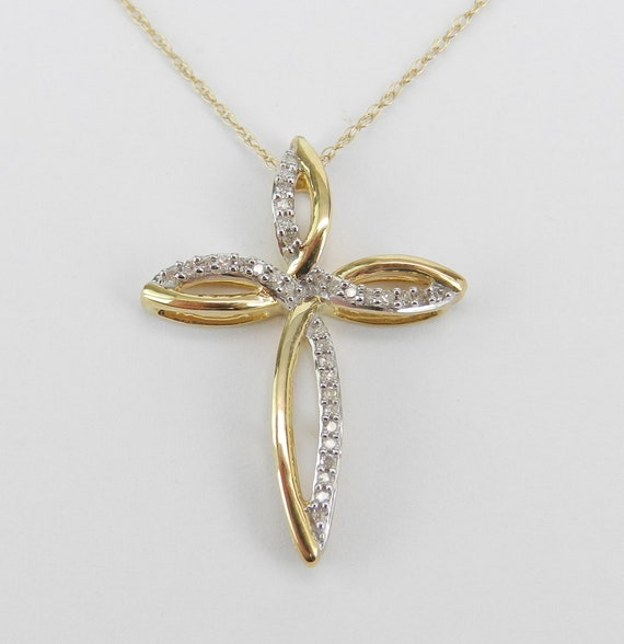 "Yellow Gold Diamond CROSS Pendant Necklace Religious Charm 18"" Chain"