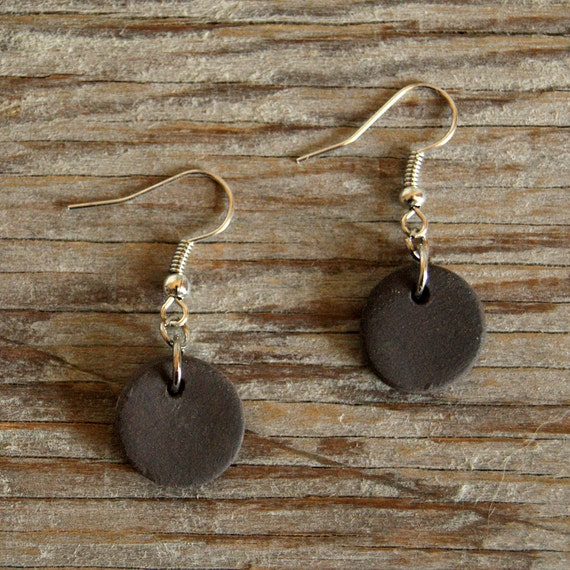 SMALL dark brown round stoneware drop earrings