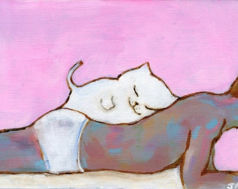 "Kitten Always Finds the Best Spot to Sleep 7"" x 5"" Print"