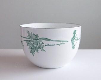Vintage Arabia Finel Chervil Anthriscus Cerefolium Green White Enamel Bowl Mid Century Modern